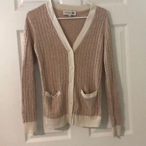 Ballet Pink and Cream Braided Cardigan